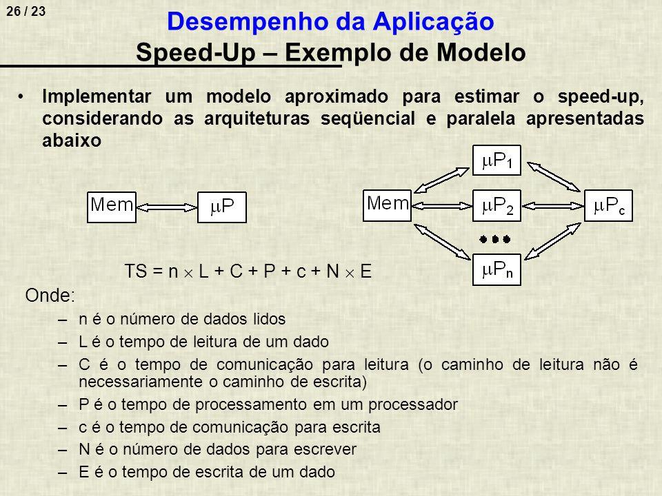 27 / 23 T CONTROLE + T COMUNICAÇÃO = (p  m  C' + p  M  c') + P Pc Onde: –m é o número de dados transmitido de cada  P para o  P c ; –C' é o tempo de comunicação de cada  P para o  P c ; –M é o número de dados transmitido do  P c para cada  P; –c' é o tempo de comunicação para escrita; –P Pc é o tempo de comunicação do  P c para cada  P Como: TS / p = (n  L + C + P + c + N  E) / p E: TP(p)  TS / p + T CONTROLE + T COMUNICAÇÃO Então: TP(p)  (n  L + C + P + c + N  E) / p + (p  m  C' + p  M  c') + P Pc Desempenho da Aplicação Speed-Up – Exemplo de Modelo