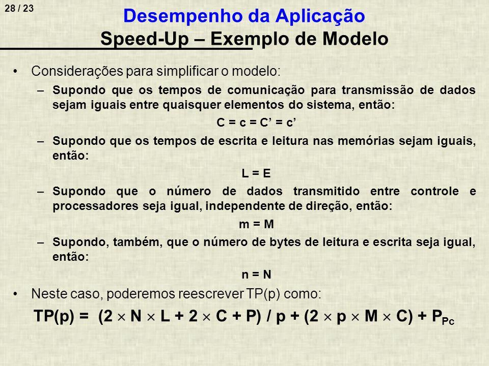 29 / 23 Desempenho da Aplicação Speed-Up – Exemplo de Modelo Como SU(p) = TS / TP(p), então: (2  N  L + 2  C + P) / p + (2  p  M  C) + P Pc 2  N  L + 2  C + P SU(p) = Ou: 2  N  L + 2  C + P + 2  p 2  M  C + P Pc  p 2  N  L  p + 2  C  p + P  p SU(p) = Novas considerações: –Onde estão as memórias e os processadores.