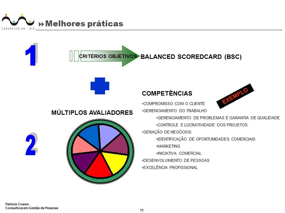 11 Patricia Cosme Consultora em Gestão de Pessoas  Melhores práticas CRITÉRIOS OBJETIVOS BALANCED SCOREDCARD (BSC) COMPETÊNCIAS COMPROMISSO COM O CLI
