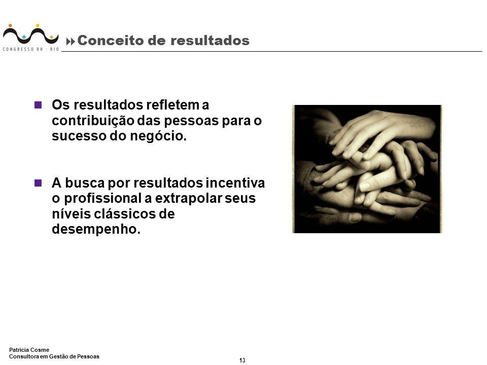 13 Patricia Cosme Consultora em Gestão de Pessoas  Conceito de resultados Os resultados refletem a contribuição das pessoas para o sucesso do negócio