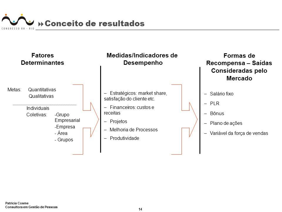 14 Patricia Cosme Consultora em Gestão de Pessoas  Conceito de resultados –Salário fixo –PLR –Bônus –Plano de ações –Variável da força de vendas –Est