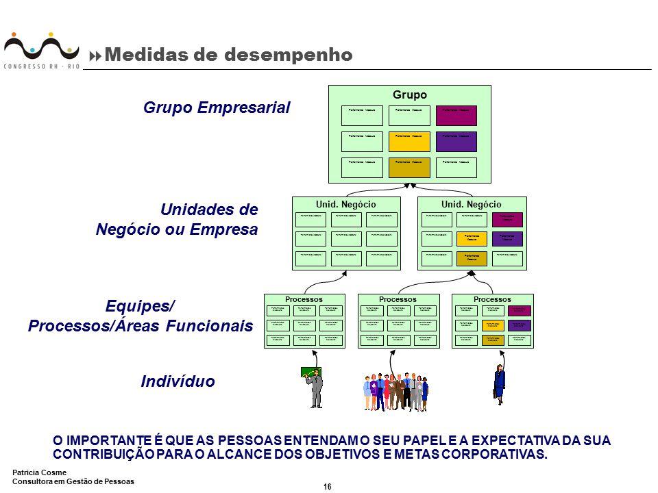 16 Patricia Cosme Consultora em Gestão de Pessoas  Medidas de desempenho Equipes/ Processos/Áreas Funcionais Grupo Performance Measure Unid. Negócio