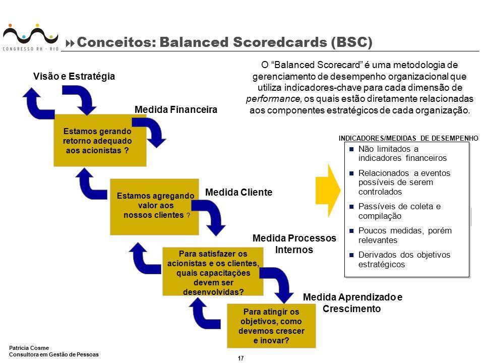 17 Patricia Cosme Consultora em Gestão de Pessoas  Conceitos: Balanced Scoredcards (BSC) Estamos gerando retorno adequado aos acionistas ? Estamos ag