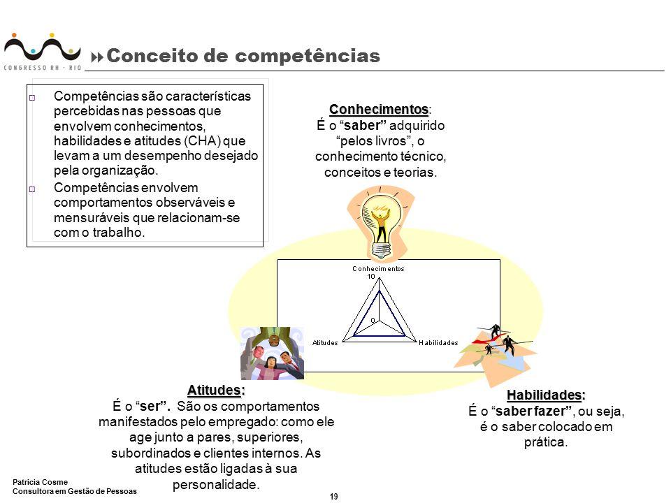 19 Patricia Cosme Consultora em Gestão de Pessoas  Conceito de competências o Competências são características percebidas nas pessoas que envolvem co
