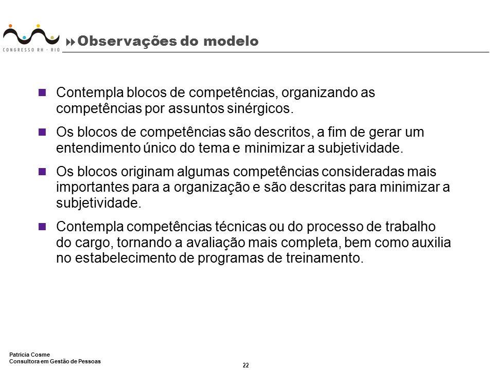 22 Patricia Cosme Consultora em Gestão de Pessoas  Observações do modelo Contempla blocos de competências, organizando as competências por assuntos s