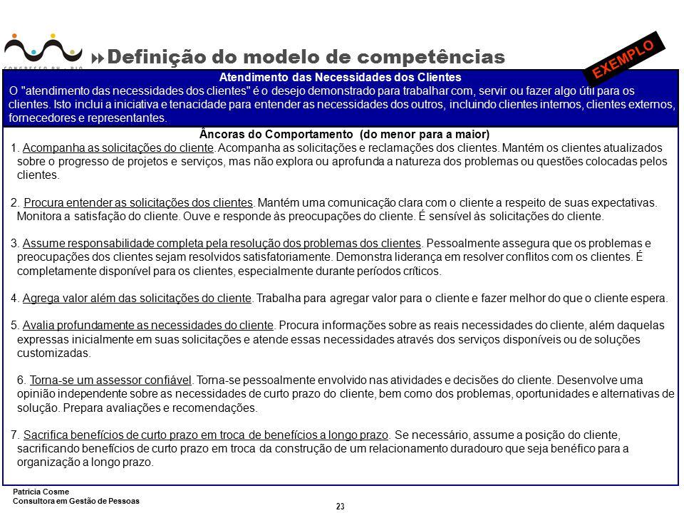 23 Patricia Cosme Consultora em Gestão de Pessoas  Definição do modelo de competências Âncoras do Comportamento (do menor para a maior) 1. Acompanha