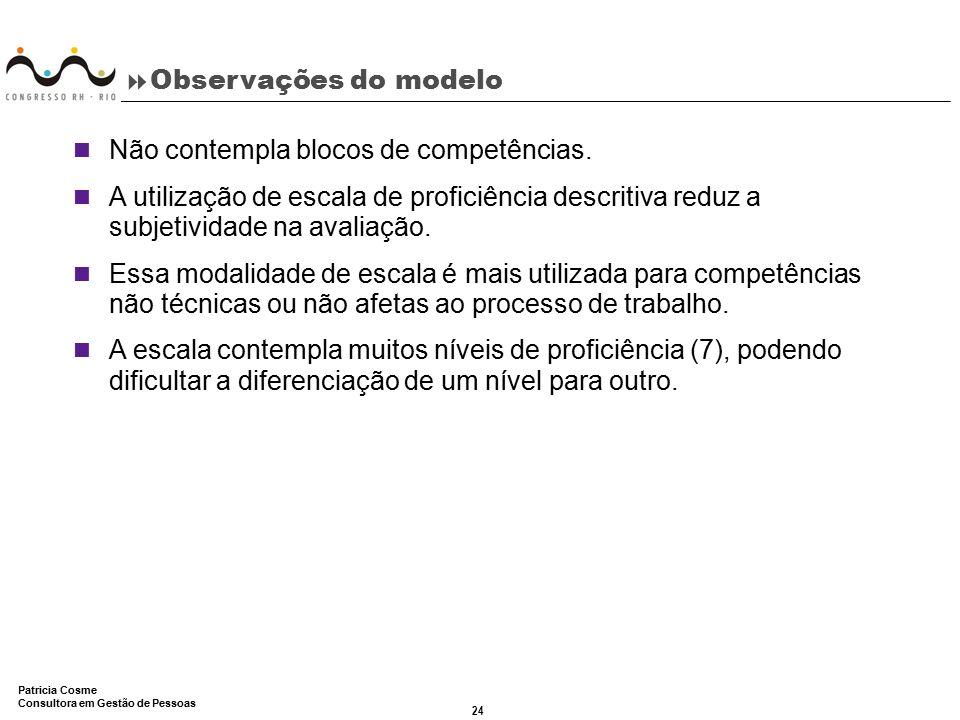 24 Patricia Cosme Consultora em Gestão de Pessoas  Observações do modelo Não contempla blocos de competências. A utilização de escala de proficiência