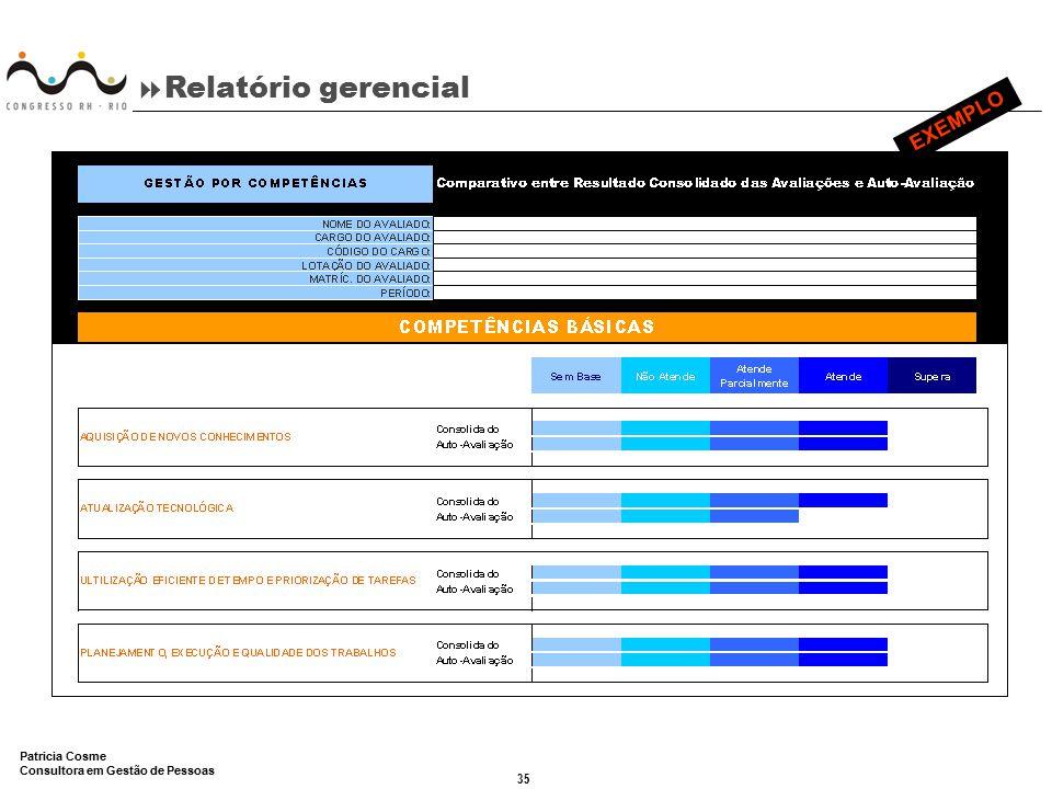 35 Patricia Cosme Consultora em Gestão de Pessoas  Relatório gerencial EXEMPLO