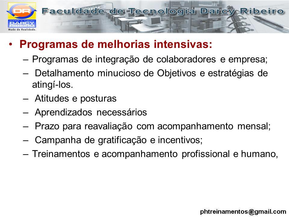 Programas de melhorias intensivas: –Programas de integração de colaboradores e empresa; – Detalhamento minucioso de Objetivos e estratégias de atingí-