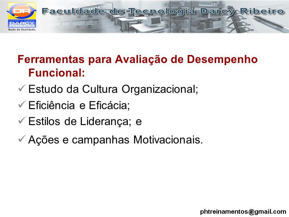 Ferramentas para Avaliação de Desempenho Funcional: Estudo da Cultura Organizacional; Eficiência e Eficácia; Estilos de Liderança; e Ações e campanhas