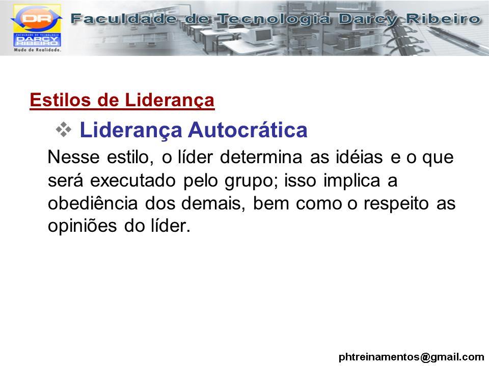 Estilos de Liderança  Liderança Autocrática Nesse estilo, o líder determina as idéias e o que será executado pelo grupo; isso implica a obediência do