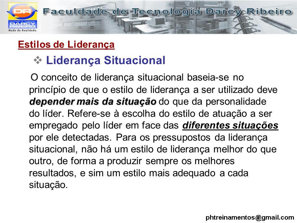 Estilos de Liderança  Liderança Situacional depender mais da situação O conceito de liderança situacional baseia-se no princípio de que o estilo de l