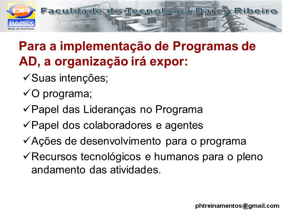Para a implementação de Programas de AD, a organização irá expor: Suas intenções; O programa; Papel das Lideranças no Programa Papel dos colaboradores