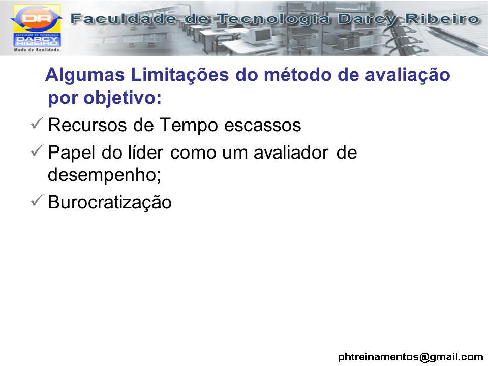 Algumas Limitações do método de avaliação por objetivo: Recursos de Tempo escassos Papel do líder como um avaliador de desempenho; Burocratização