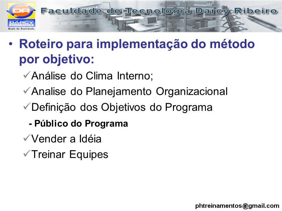Roteiro para implementação do método por objetivo: Análise do Clima Interno; Analise do Planejamento Organizacional Definição dos Objetivos do Program