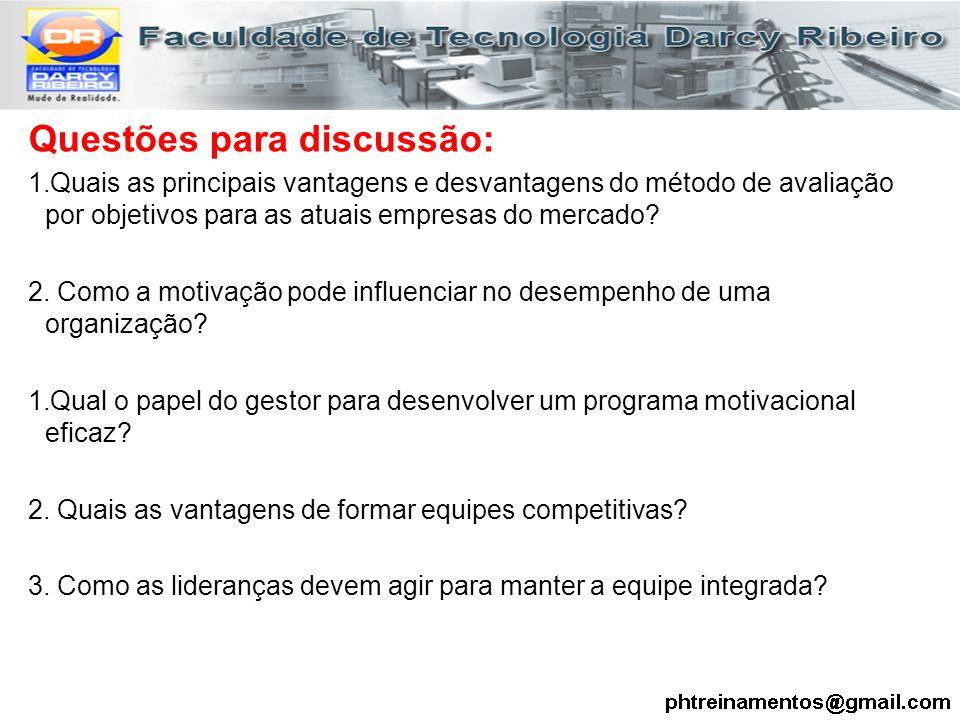 Questões para discussão: 1.Quais as principais vantagens e desvantagens do método de avaliação por objetivos para as atuais empresas do mercado? 2. Co