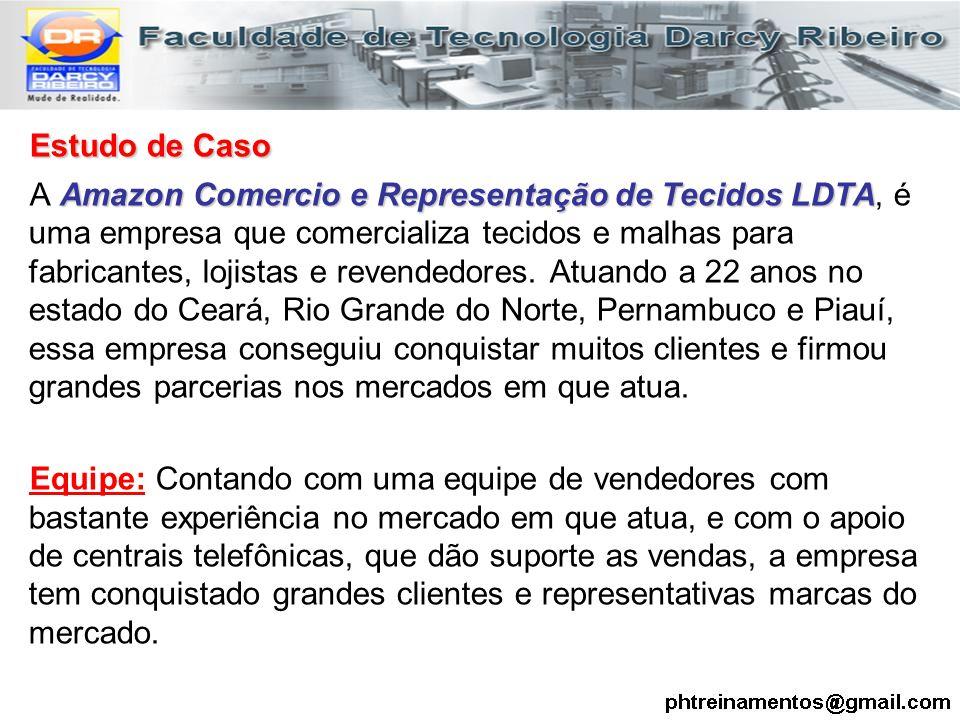 Estudo de Caso Amazon Comercio e Representação de Tecidos LDTA A Amazon Comercio e Representação de Tecidos LDTA, é uma empresa que comercializa tecid
