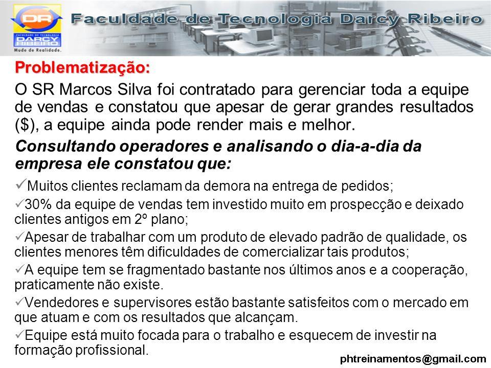 Problematização: O SR Marcos Silva foi contratado para gerenciar toda a equipe de vendas e constatou que apesar de gerar grandes resultados ($), a equ