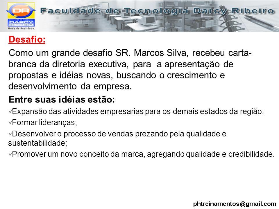 Desafio: Como um grande desafio SR. Marcos Silva, recebeu carta- branca da diretoria executiva, para a apresentação de propostas e idéias novas, busca