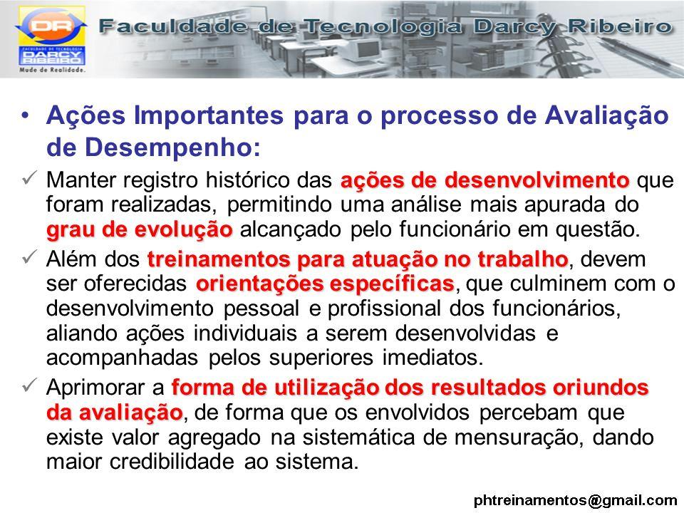 Ações Importantes para o processo de Avaliação de Desempenho: ações de desenvolvimento grau de evolução Manter registro histórico das ações de desenvo