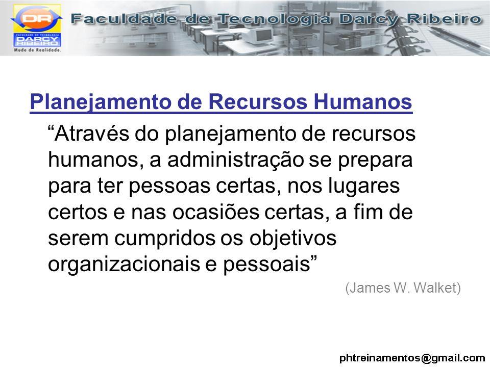 """Planejamento de Recursos Humanos """"Através do planejamento de recursos humanos, a administração se prepara para ter pessoas certas, nos lugares certos"""