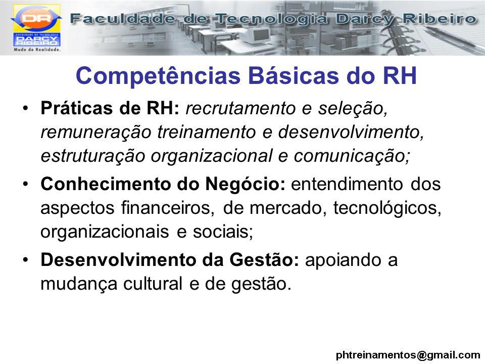 Competências Básicas do RH Práticas de RH: recrutamento e seleção, remuneração treinamento e desenvolvimento, estruturação organizacional e comunicaçã