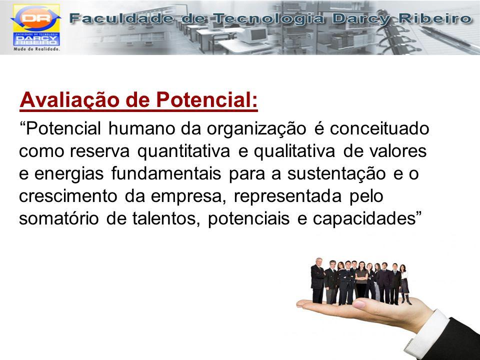 """Avaliação de Potencial: """"Potencial humano da organização é conceituado como reserva quantitativa e qualitativa de valores e energias fundamentais para"""