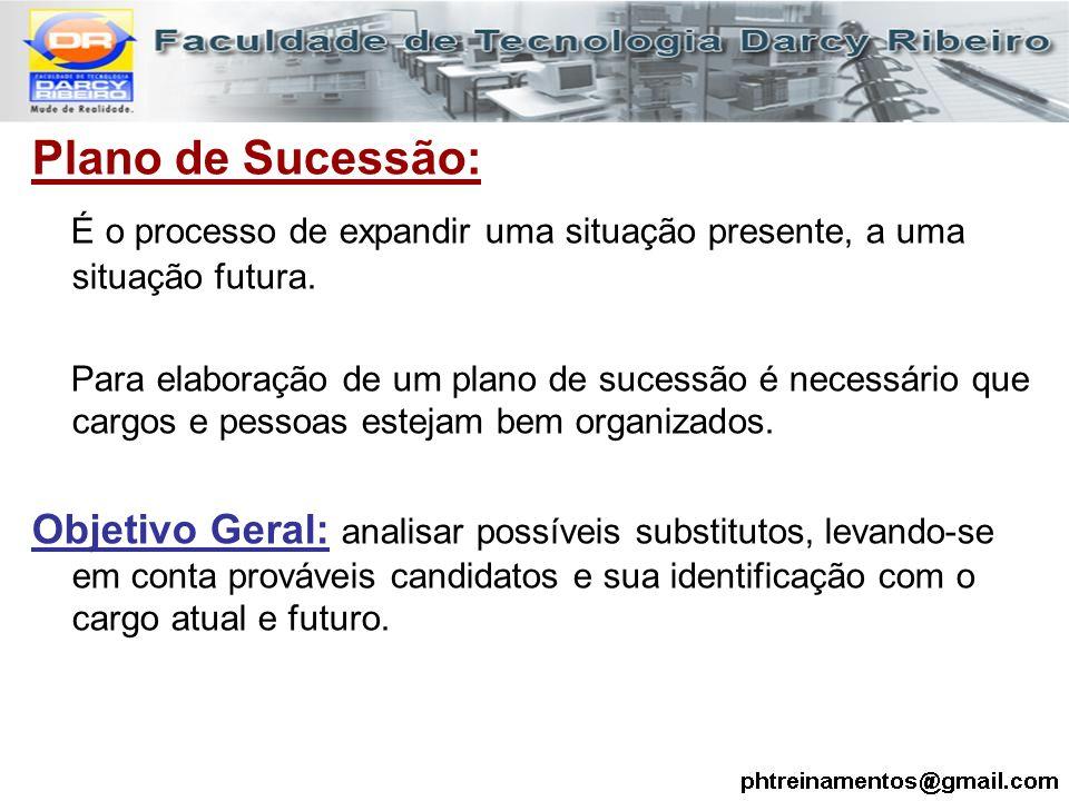 Plano de Sucessão: É o processo de expandir uma situação presente, a uma situação futura. Para elaboração de um plano de sucessão é necessário que car