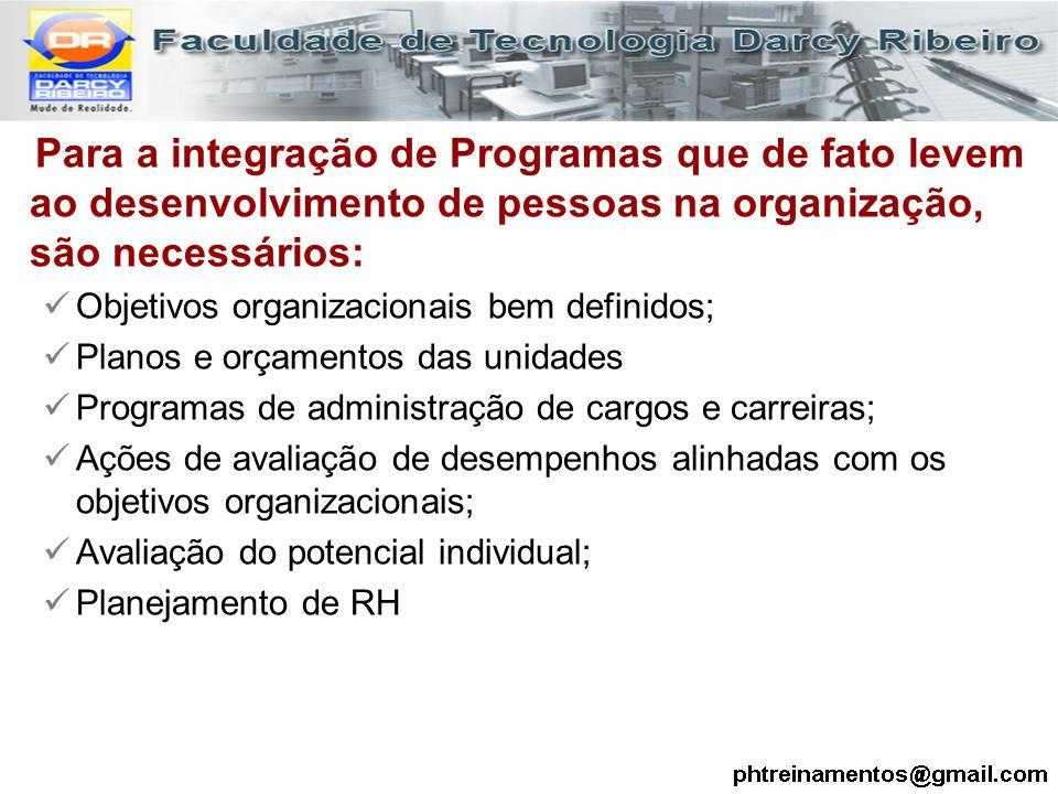 Para a integração de Programas que de fato levem ao desenvolvimento de pessoas na organização, são necessários: Objetivos organizacionais bem definido