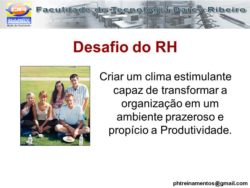 Desafio do RH Criar um clima estimulante capaz de transformar a organização em um ambiente prazeroso e propício a Produtividade.