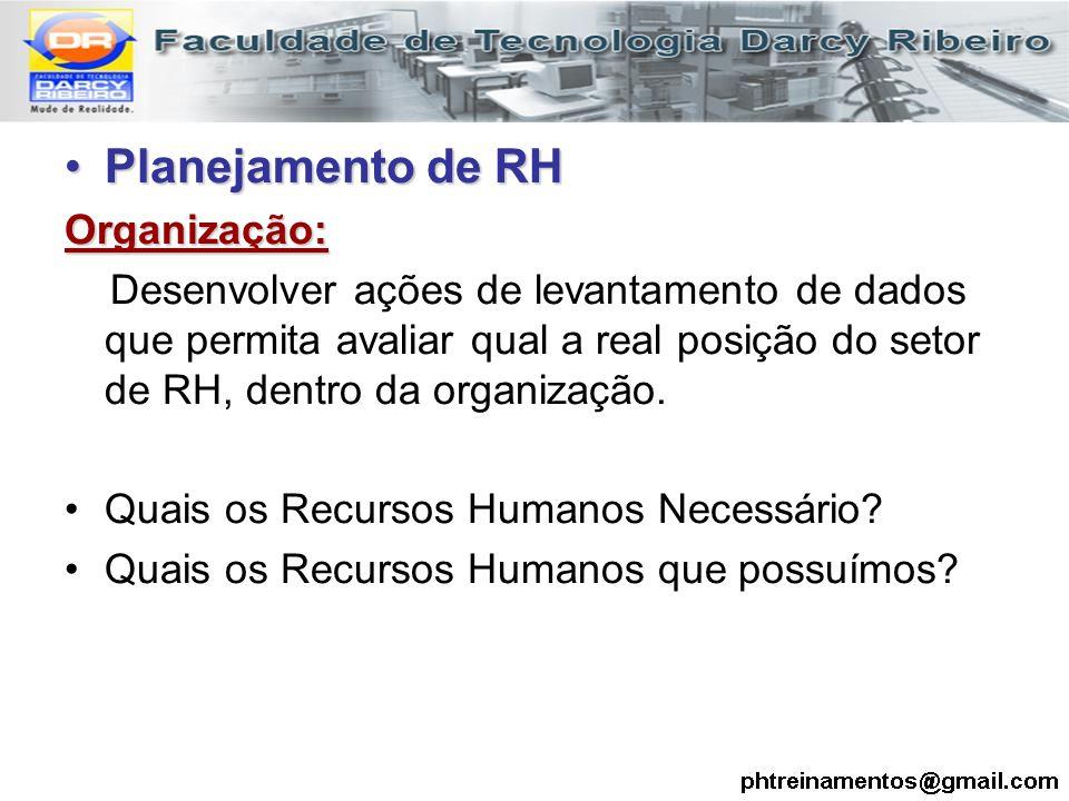 Planejamento de RHPlanejamento de RHOrganização: Desenvolver ações de levantamento de dados que permita avaliar qual a real posição do setor de RH, de