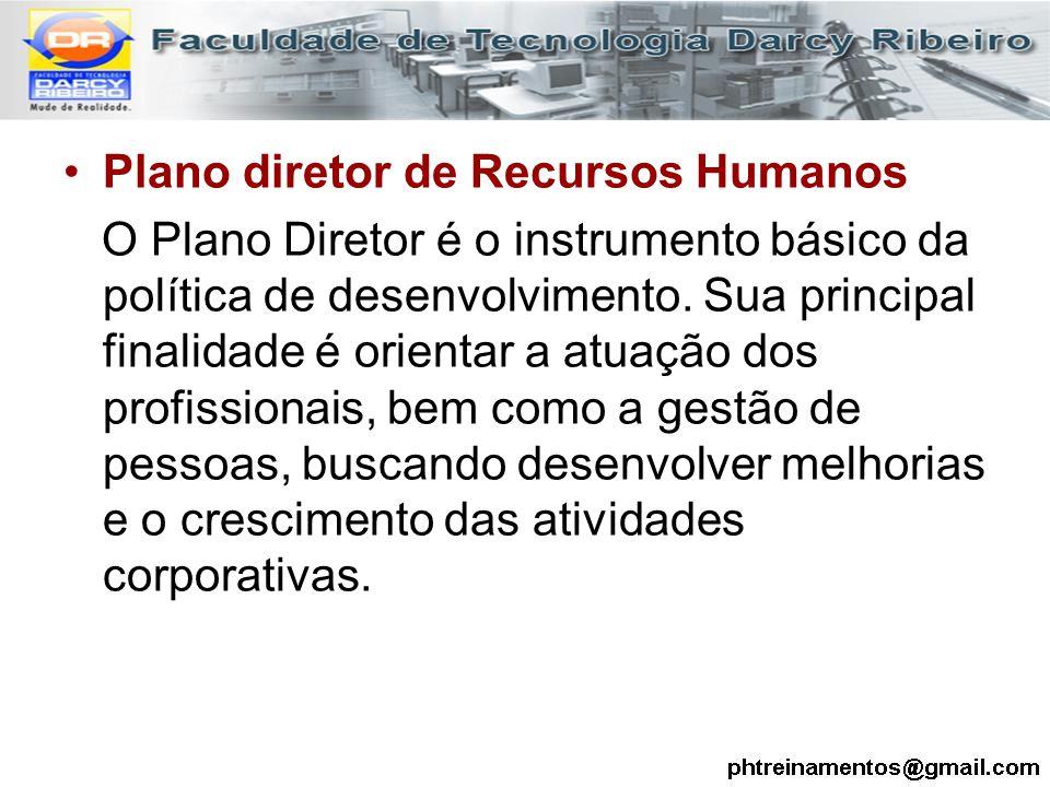 Plano diretor de Recursos Humanos O Plano Diretor é o instrumento básico da política de desenvolvimento. Sua principal finalidade é orientar a atuação