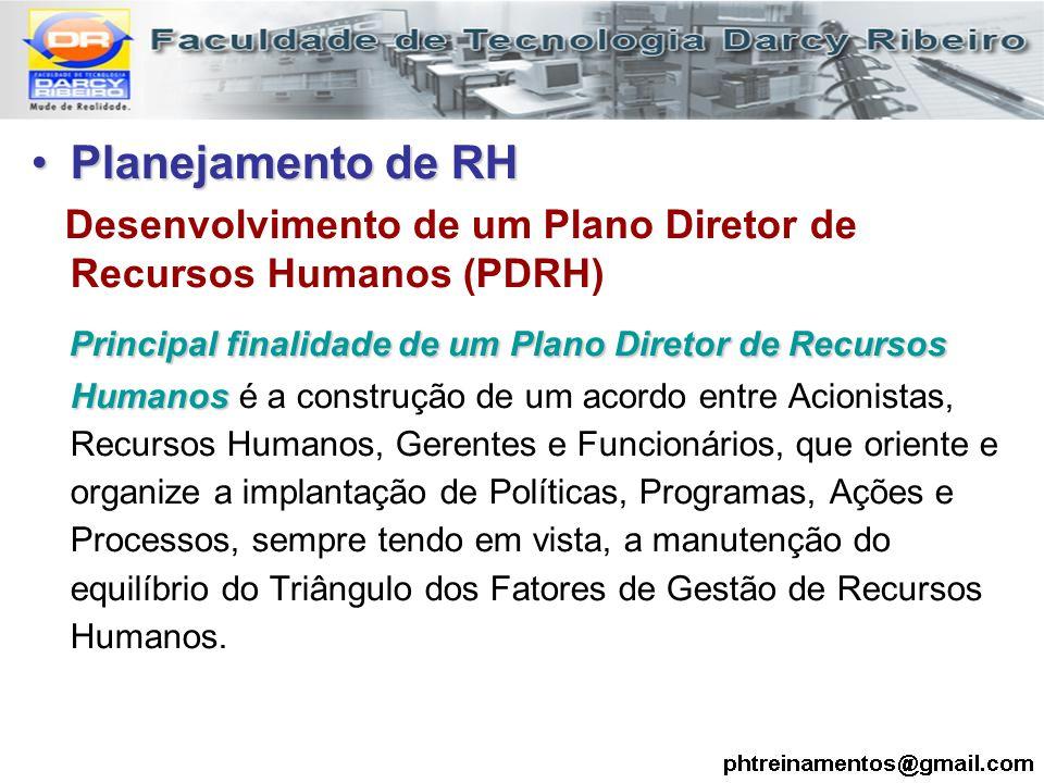 Planejamento de RHPlanejamento de RH Desenvolvimento de um Plano Diretor de Recursos Humanos (PDRH) Principal finalidade de um Plano Diretor de Recurs