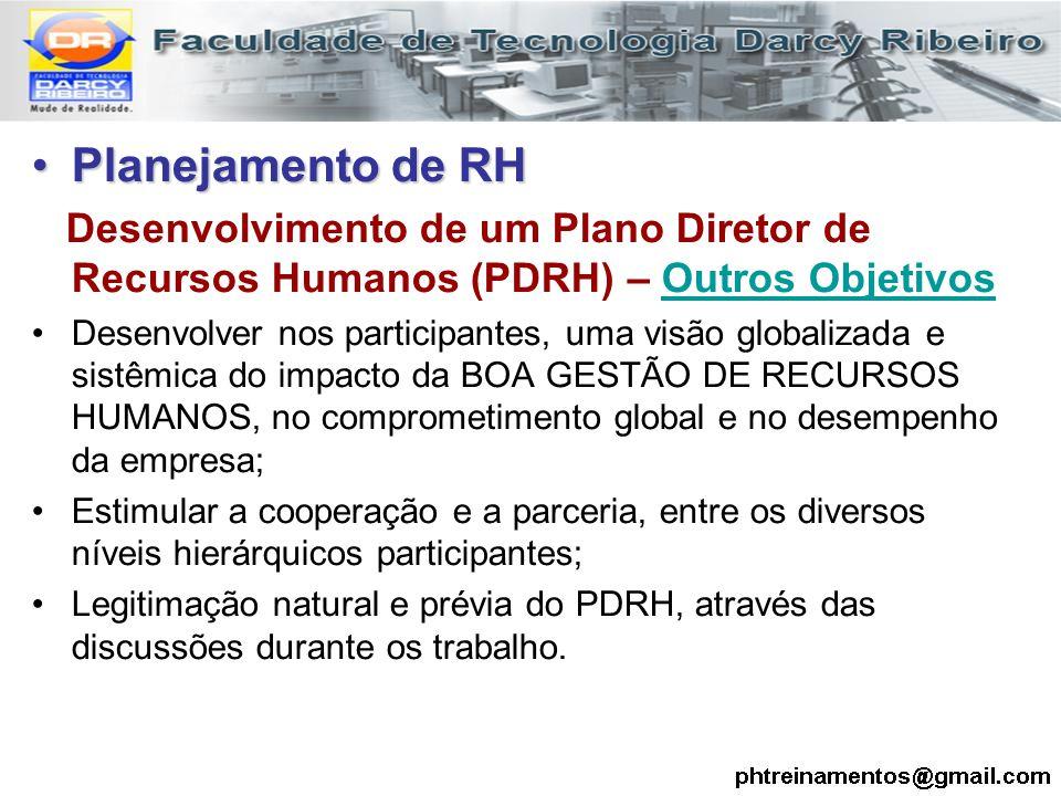Planejamento de RHPlanejamento de RH Desenvolvimento de um Plano Diretor de Recursos Humanos (PDRH) – Outros Objetivos Desenvolver nos participantes,