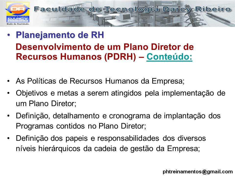 Planejamento de RHPlanejamento de RH Desenvolvimento de um Plano Diretor de Recursos Humanos (PDRH) – Conteúdo: As Políticas de Recursos Humanos da Em