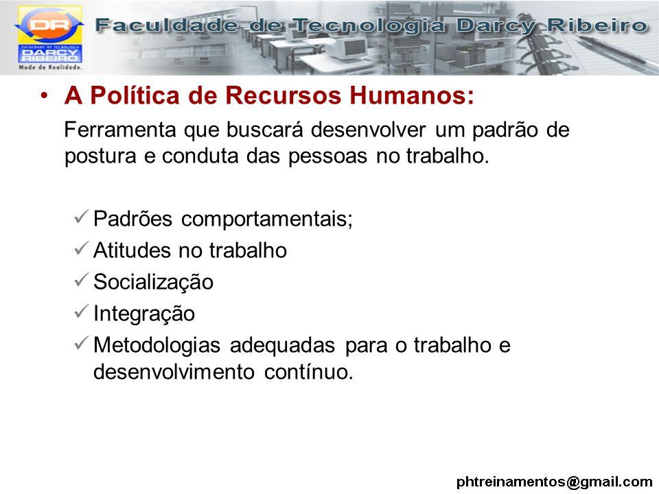 A Política de Recursos Humanos: Ferramenta que buscará desenvolver um padrão de postura e conduta das pessoas no trabalho. Padrões comportamentais; At