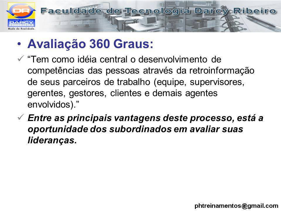 """Avaliação 360 Graus: """"Tem como idéia central o desenvolvimento de competências das pessoas através da retroinformação de seus parceiros de trabalho (e"""