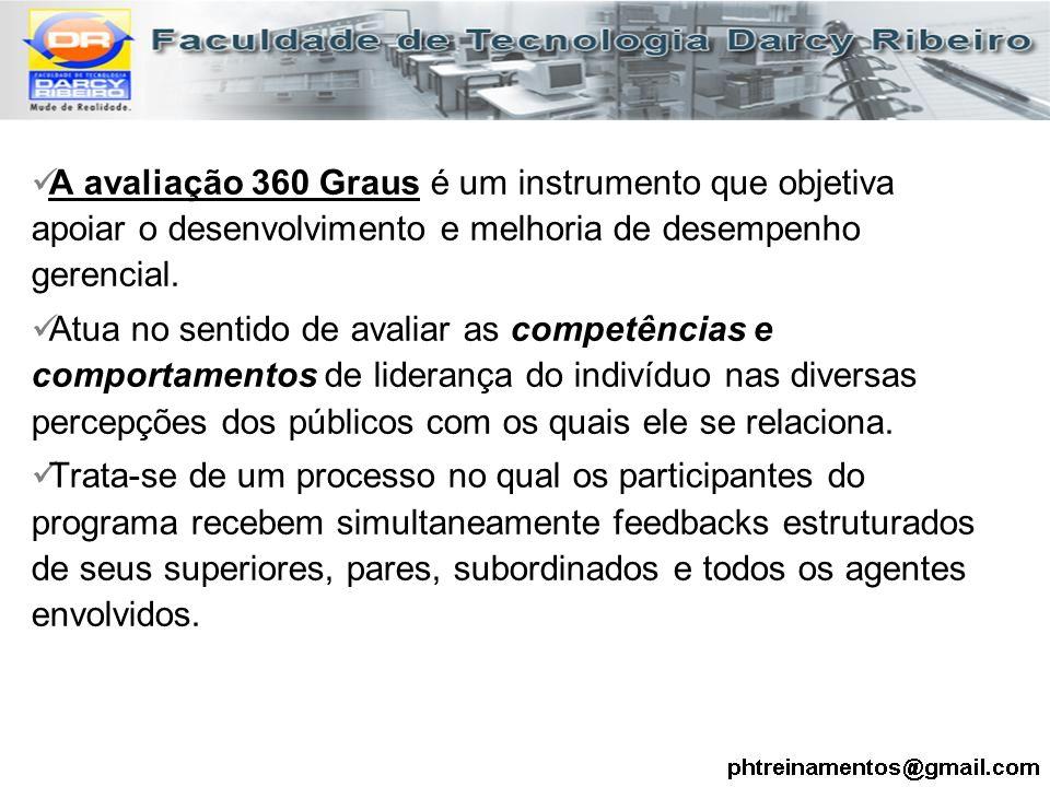 A avaliação 360 Graus é um instrumento que objetiva apoiar o desenvolvimento e melhoria de desempenho gerencial. Atua no sentido de avaliar as competê