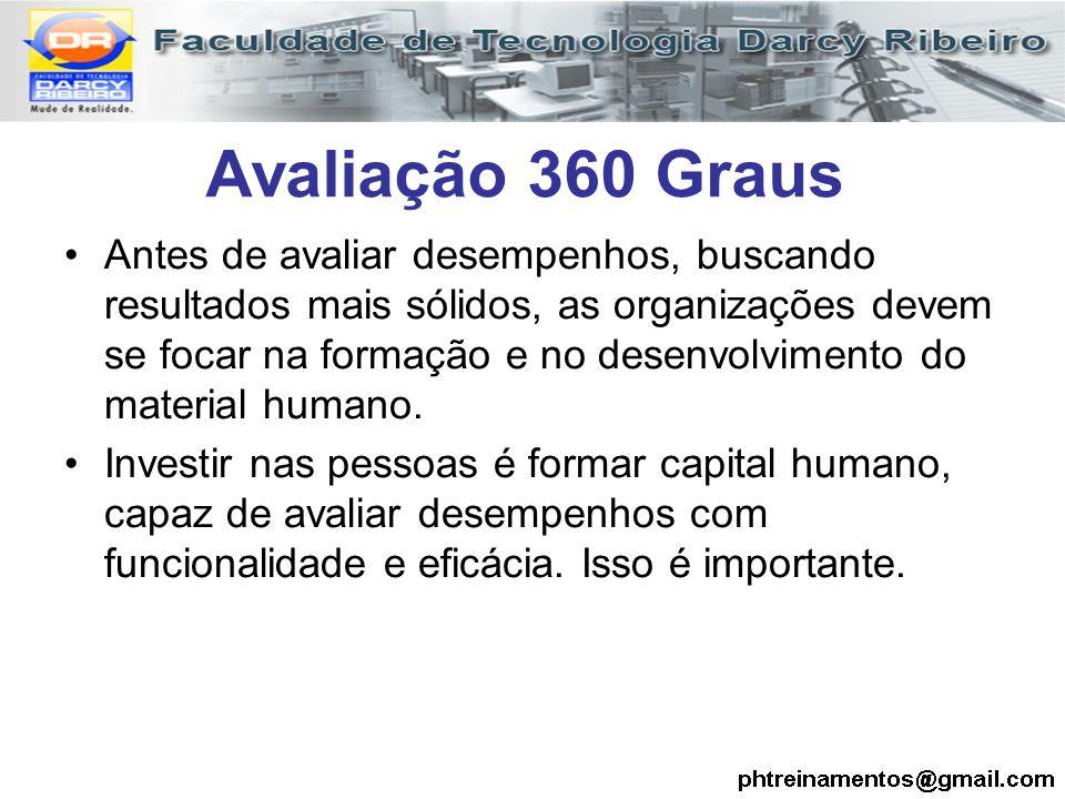 Avaliação 360 Graus Antes de avaliar desempenhos, buscando resultados mais sólidos, as organizações devem se focar na formação e no desenvolvimento do