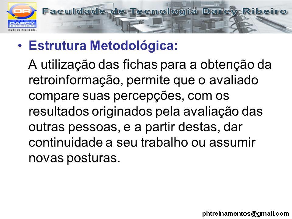 Estrutura Metodológica: A utilização das fichas para a obtenção da retroinformação, permite que o avaliado compare suas percepções, com os resultados