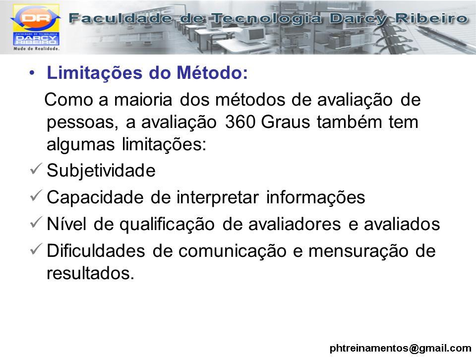 Limitações do Método: Como a maioria dos métodos de avaliação de pessoas, a avaliação 360 Graus também tem algumas limitações: Subjetividade Capacidad