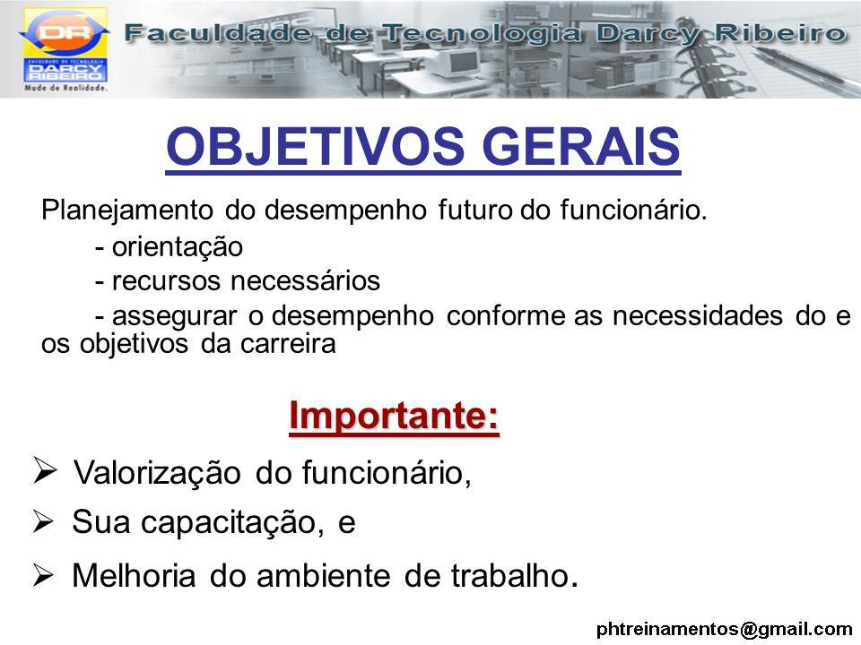 OBJETIVOS GERAIS Planejamento do desempenho futuro do funcionário. - orientação - recursos necessários - assegurar o desempenho conforme as necessidad