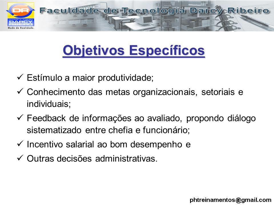 Estímulo a maior produtividade; Conhecimento das metas organizacionais, setoriais e individuais; Feedback de informações ao avaliado, propondo diálogo