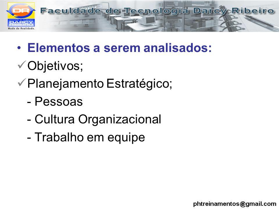 Elementos a serem analisados: Objetivos; Planejamento Estratégico; - Pessoas - Cultura Organizacional - Trabalho em equipe
