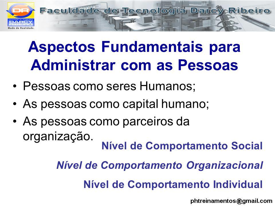 Aspectos Fundamentais para Administrar com as Pessoas Pessoas como seres Humanos; As pessoas como capital humano; As pessoas como parceiros da organiz