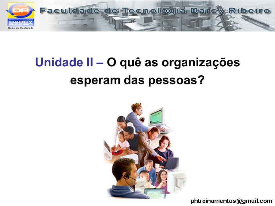 Unidade II – O quê as organizações esperam das pessoas?