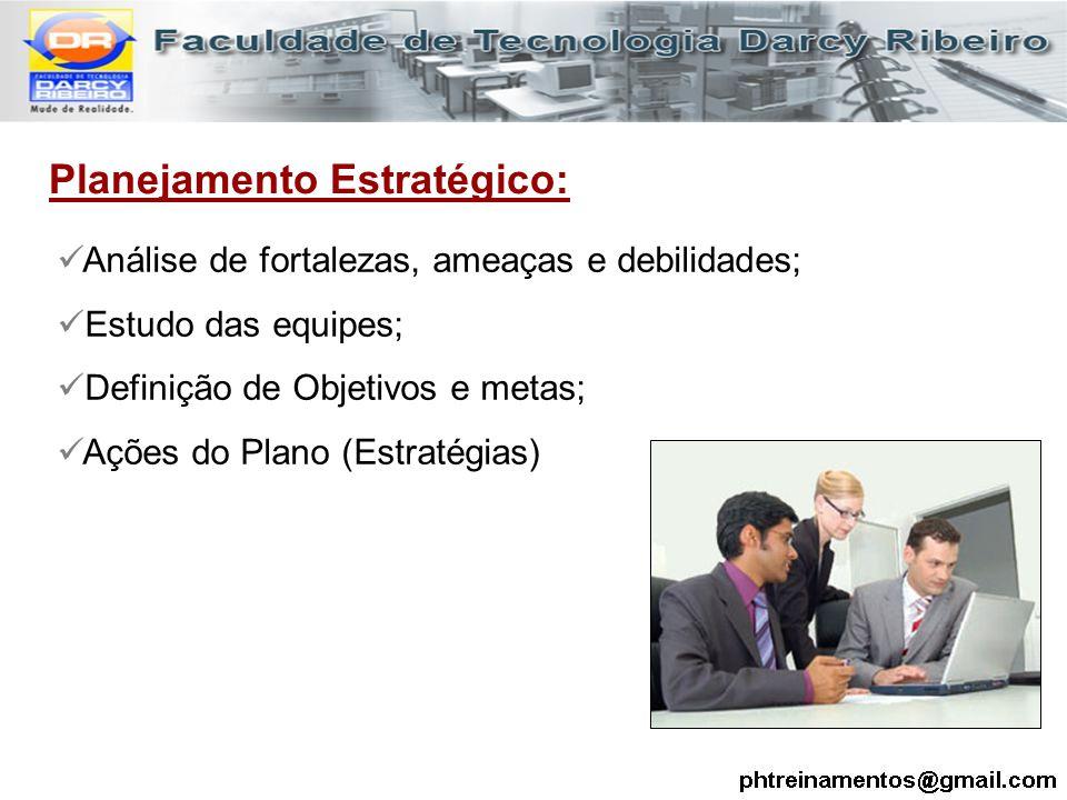 Planejamento Estratégico: Análise de fortalezas, ameaças e debilidades; Estudo das equipes; Definição de Objetivos e metas; Ações do Plano (Estratégia