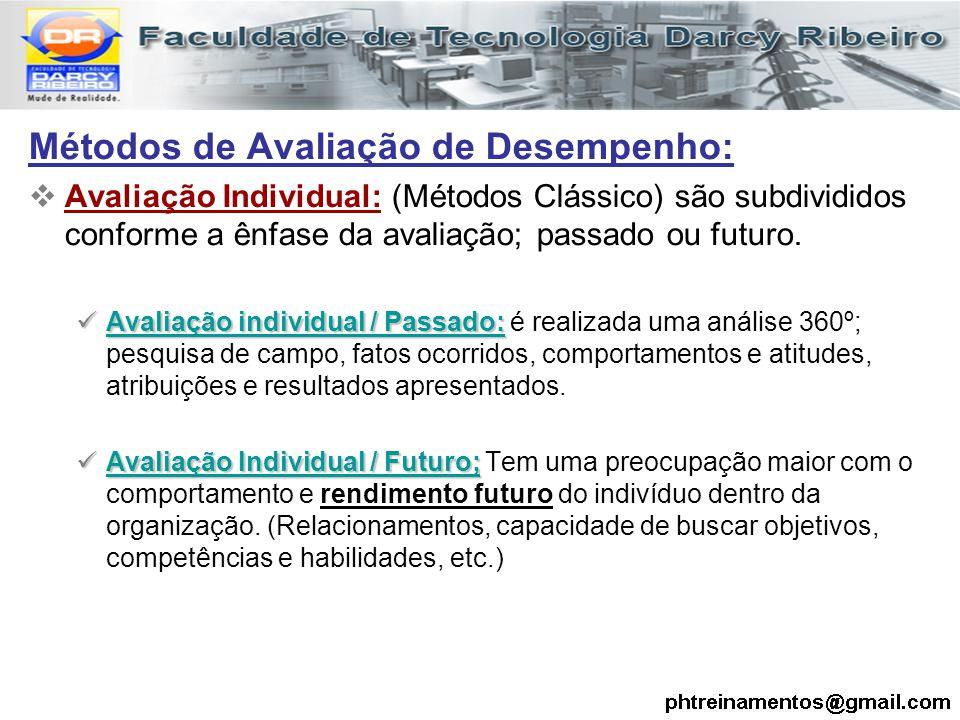 Métodos de Avaliação de Desempenho:  Avaliação Individual: (Métodos Clássico) são subdivididos conforme a ênfase da avaliação; passado ou futuro. Ava