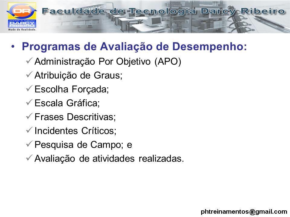 Programas de Avaliação de Desempenho: Administração Por Objetivo (APO) Atribuição de Graus; Escolha Forçada; Escala Gráfica; Frases Descritivas; Incid