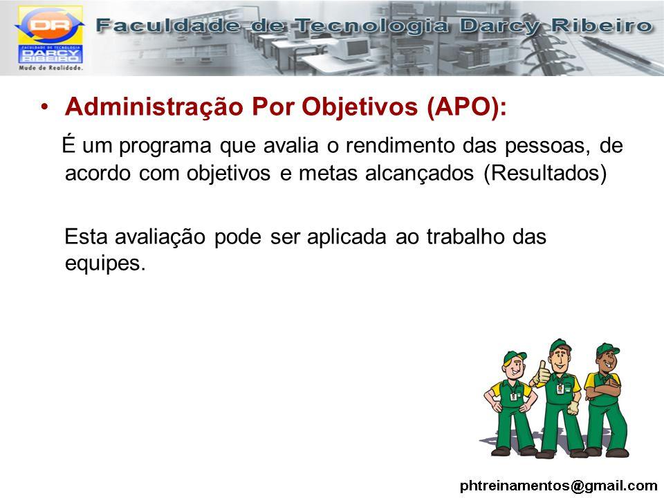 Administração Por Objetivos (APO): É um programa que avalia o rendimento das pessoas, de acordo com objetivos e metas alcançados (Resultados) Esta ava